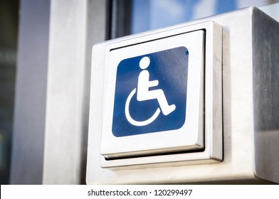 door opener button for disabled people at an office building