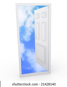 A door opening up to a blue sky.