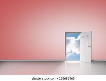 Door opening to reveal blue sunny sky in pink room