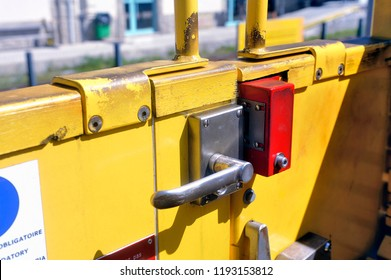Door opening system of the little yellow train in close-up