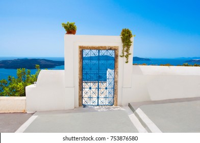 Door from the patio in Fira town on the island of Thira (Santorini), Greece.