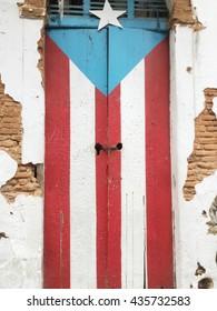 Door of a ruined house in San Juan, Puerto Rico