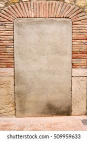 door, rustic stone background