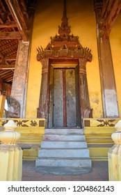 A door of the Sisaket Temple, Vientiane, Laos.