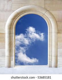 Door to sky - conceptual image - business metaphor