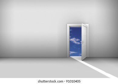 Door to sky. Illustration for imagination or doorway concepts with copy space included. Light beam into the hall.