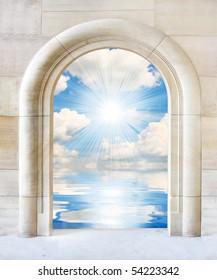 Door to sunny day in tropics  - conceptual image. Happy holidays metaphor.