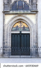 Door with theses  of the castle church in the Luther city Wittenberg / church door  / Luther city Wittenberg