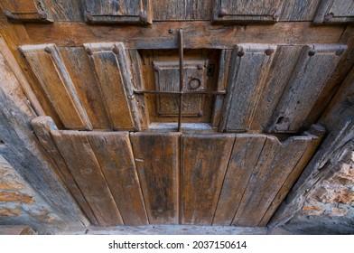 Door in Calatañazor village in Soria province of Castilla y Leon Autonomous Community of Spain, Europe