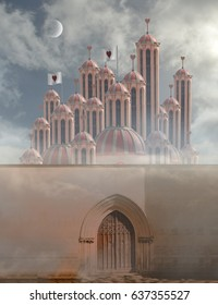 door in Wall of queen of hearts palace