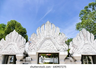 The door of Wat Chaiya Chaiyaphum The famous temple in southern Thailand, Nakhon Si Thammarat.
