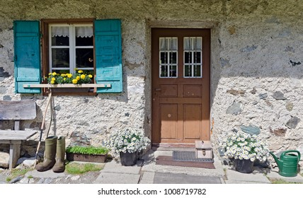door and window of an alp lodge from the Frohnalm at the Gailvalley , Carinthia, Austria