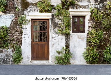Door and Windows on the old brick wall and old gray cement wall with cracked color. Covered with green leaves.