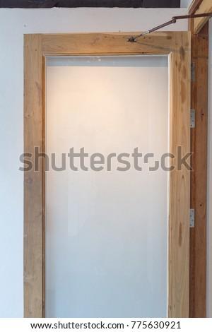 Door Wood Frame Clear Glass Panel Door Stock Photo (Edit Now ...