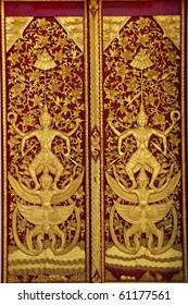 Door woodcarving in thai temple