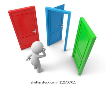 Door/Choose/A person thinking in front of three doors