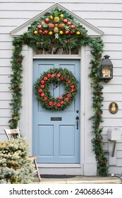 door/entrance decorated for the holidays