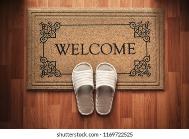 Doormat with text Welcome. Cleaning foot carpet with slippers