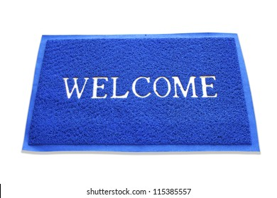 doormat of welcome text on white background