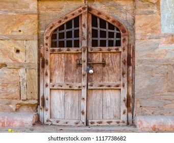 Doors at the ancient Amber Fort in Rajasthan, India.