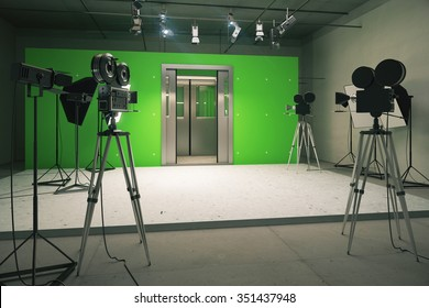 Doors decoration for movie filming with vintage cameras 3D Render