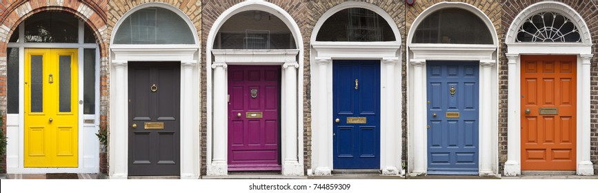 Doors in different colors painted as protest against English King George legal reign over the city of Dublin in Ireland