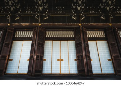 The doors of Higashi Hongan-ji, a Buddhist temple in Kyoto, Japan.