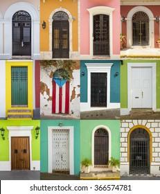 Doors of houses in San Juan, Puerto Rico
