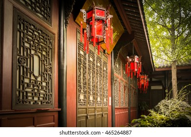 Doors and lanterns in an unknown traditional chinese house in Chengdu, China