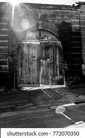 doors made of wood in Gyumri. Armenia.