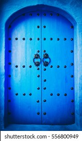 The doors made of wood painted blue, Marocco
