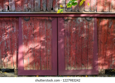 Doors on the old corncrib at the Cranbury Barn Park in Cranbury, New Jersey.