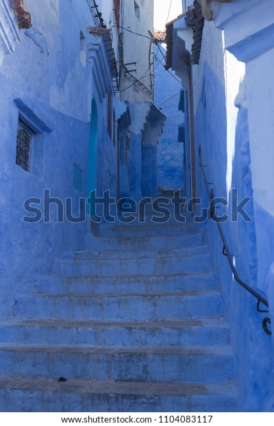 doors, streets, pots, blue colors in the Moroccan village of Chefchaouen