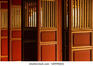 Doors to a vietnamese temple in the area of the Imperial City of Hue