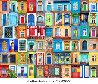 Doors and windows of the world. Colorful collage, travel concept.