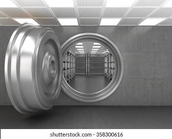 The doorway of a bank vault