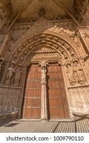 Doorway entrance gate of Catedral de Mallorca (La Seu), Gothic cathedral in Palma de Mallorca. Majorca, Balearic Islands, Spain
