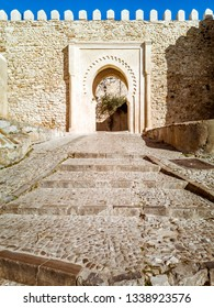 Doorway of entrance of the Kasbah in the Tangier's medina, north of Morocco