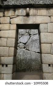 Doorway and inca stonework detail in machupicchu