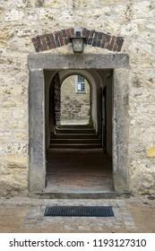 doorway to the inner yard of wolfsburg castle, germany