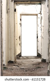 Doorway leading into a white background