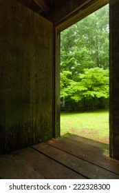 A doorway leading out to a forest.  Roaring Fork Loop, Great Smoky Mountain National Park, TN, USA.