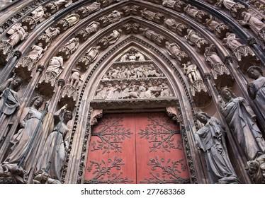 Doorway Notre-dame cathedral Strasbourg, France