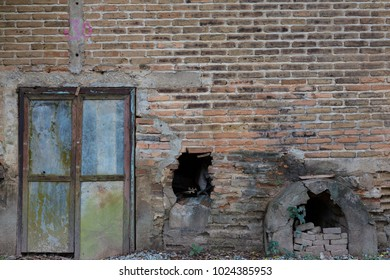 The doorway to the old warehouse with rusty red brick wall in its background.