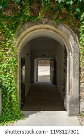 doorway out of the inner yard of wolfsburg castle, germany