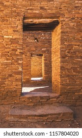 Doorway in Pueblo Bonito in Chaco Culture National Historical Park, a UNESCO World Heritage Site in New Mexico.  Chaco Canyon was inhabited by ancestrual puebloans, or the Anasazi.