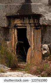 Doorway to rock cut tomb in Myra Turkey