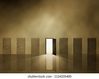 Doorway with shining light. 3D rendering