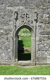 Doorway, St Mary's Augustinian Priory, Devenish Island, Lower Lough Erne, County Fermanagh, Northern Ireland