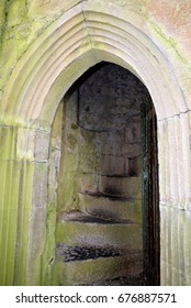 Doorway to the Tower, St Mary's Augustinian Priory, Devenish Island, Lower Lough Erne, County Fermanagh, Northern Ireland